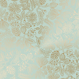 Primavera By Rifle Paper Co. For Cotton + Steel - Mint Metallic