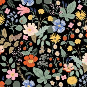 Strawberry Fields By Rifle Paper Co. For Cotton + Steel - Black - Rayon