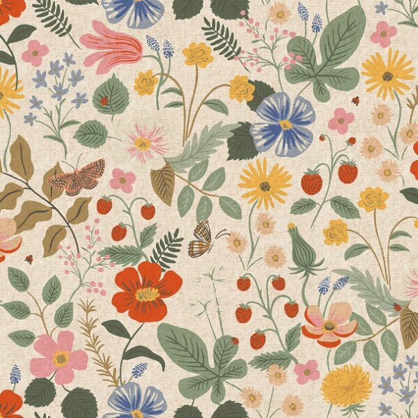 Strawberry Fields By Rifle Paper Co. For Cotton + Steel - Linen Unbleached - Canvas