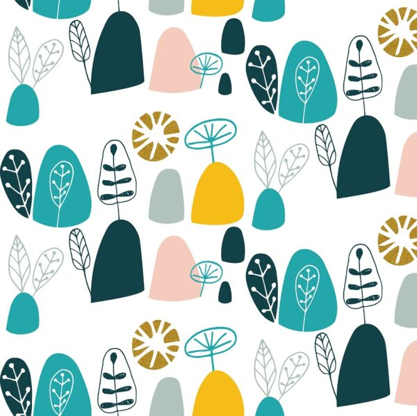 Mountains Rock And Pebbles By Vanessa Binder For Cotton + Steel - Teal Metallic Fabric