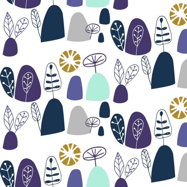 Mountains Rock And Pebbles By Vanessa Binder For Cotton + Steel - Gentle Violet Metallic Fabric