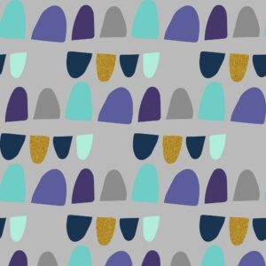 Mountains Rock And Pebbles By Vanessa Binder For Cotton + Steel - Summer Green Metallic Fabric