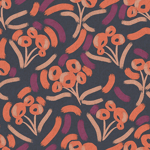 Glory By Megan Carter For Cotton + Steel - Blackberry Punch Unbleached Canvas