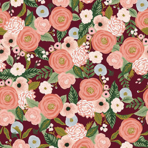 Garden Party By Rifle Paper Co. For Cotton + Steel - Burgundy Canvas