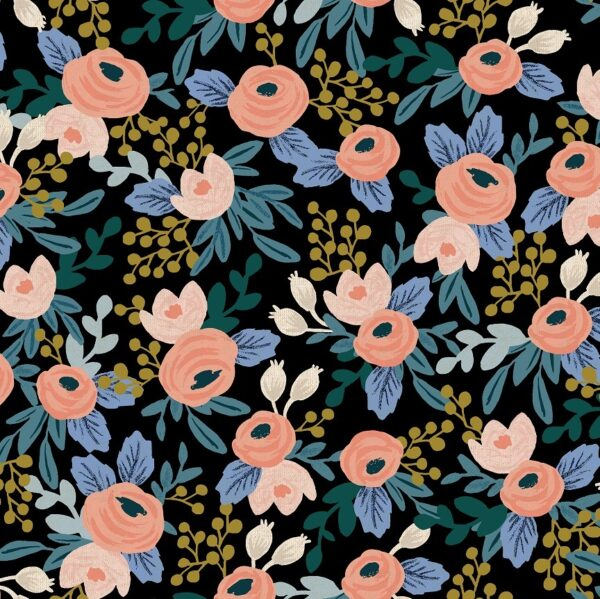 Garden Party By Rifle Paper Co. For Cotton + Steel - Blackunbleached Canvas
