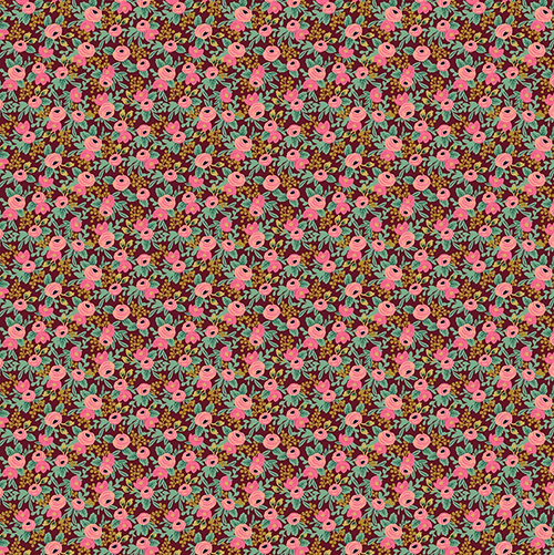 Garden Party By Rifle Paper Co. For Cotton + Steel - Burgundy Metallic