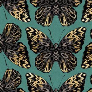 Tiger Fly Canvas By Sarah Watts Of Ruby Star Society For Moda - Aqua