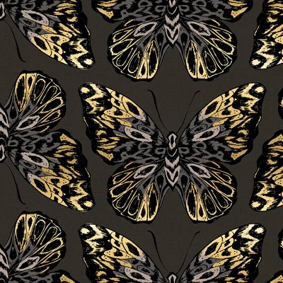 Tiger Fly Canvas By Sarah Watts Of Ruby Star Society For Moda - Noir