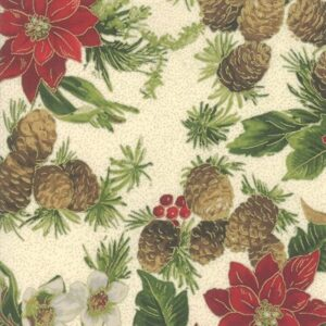 Poinsettias And Pine By Moda - Cream