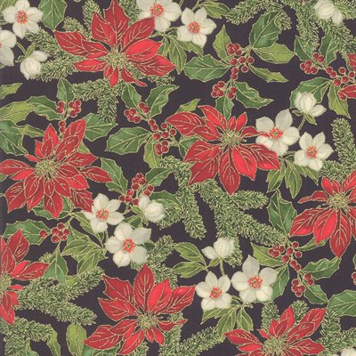 Poinsettias And Pine By Moda - Ebony