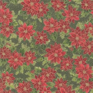 Poinsettias And Pine By Moda - Evergreen