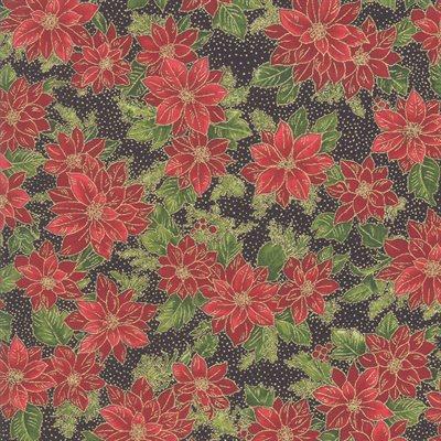 Poinsettias And Pine By Moda - Ebony