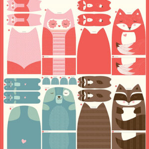 """Cut Sew Create Packaged Digital Panel By Moda - Forest Animal Plushies 47"""" X 44\' Min. Of 4"""