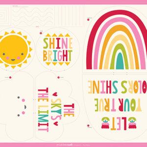 "Cut Sew Create Packaged Digital Panel By Moda-Sunshine Rainbow Cloud Pillows 33"" X 40\' Min. Of 4"