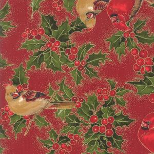 Cardinal Song Metallic By Moda - Crimson