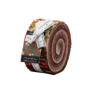 Poinsettias And Pine Metallic Jelly Rolls By Moda - Packs Of 4