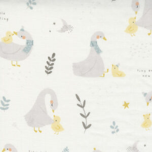 "Little Ducklings 60"" Double Gauze By Paper And Cloth For Moda - White"