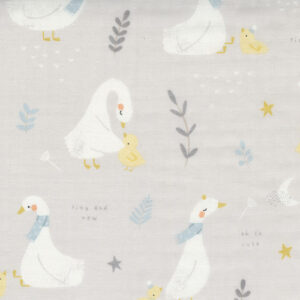 """Little Ducklings 60"""" Double Gauze By Paper And Cloth For Moda - Warm Grey"""