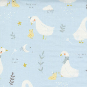 """Little Ducklings 60"""" Double Gauze By Paper And Cloth For Moda - Blue"""