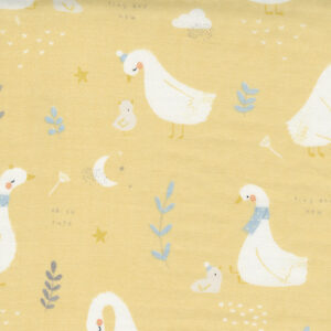 """Little Ducklings 60"""" Double Gauze By Paper And Cloth For Moda - Mustard"""