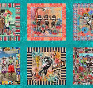 "Lipstick Cowgirl 24"" X 45\' Panel By Shari Jenkins For Moda - Aqua"