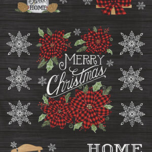 "Home Sweet Holidays 24"" X 44"" Panel By Deb Strain For Moda - Charcoal Black"