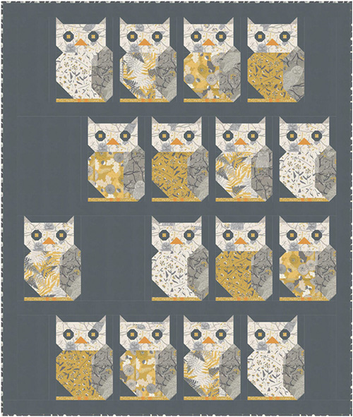 Through The Woods - Owls See You/Dark  Kit For Moda