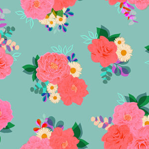 """Camellia  108"""" Quiltback By Ruby Star Society For Moda - Ocean"""