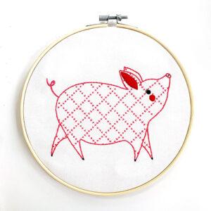 Farm Charm Embroidery Sampler - Little Piggy By Gingiber For Moda - Minimum Of 3