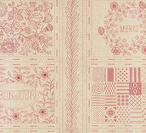 "Bonheur De Jour Mochi Linen 24"" X 44"" Panel By French General For Moda - Rouge"