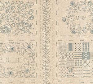 "Bonheur De Jour Mochi Linen 24"" X 44"" Panel By French General For Moda - Woad"