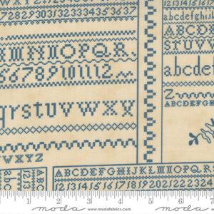 """Threads That Bind 32"""" X 44"""" Panel By Blackbird Designs For Moda - Parchment - Indigo"""