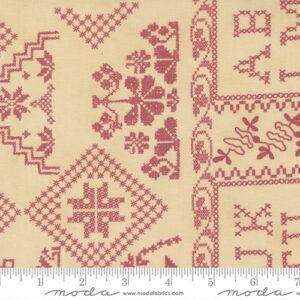 "Threads That Bind 24"" X 44"" Panel By Blackbird Designs For Moda - Parchment - Rose"