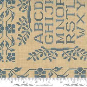 """Threads That Bind 24"""" X 44"""" Panel By Blackbird Designs For Moda - Parchment - Indigo"""