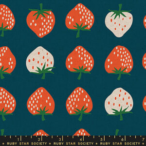 Strawberries & Friends By Kimberly Kight Of Ruby Star Society For Moda - Canvas - Blue Raspberry