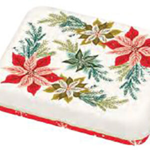 """Cheer And Memmermint - Poinsettia Small Tin 3.5"""" X 4.5"""" X 0.75"""" By Moda - Multiple Of 24"""