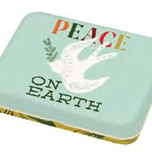 """Cheer And Memmermint - Peace Small Tin 3.5"""" X 4.5"""" X 0.75"""" By Moda - Multiple Of 24"""