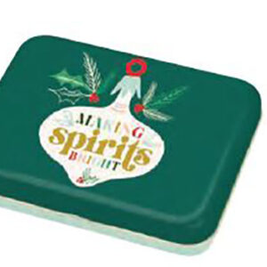 """Cheer And Memmermint - Spirits Bright Small Tin 3.5"""" X 4.5"""" X 0.75"""" By Moda - Multiple Of 24"""